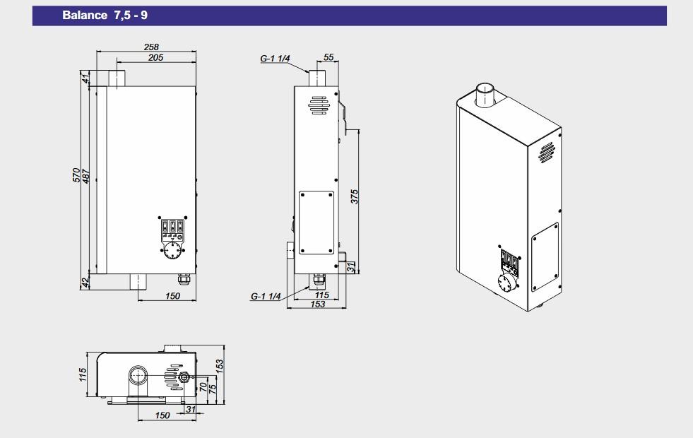 Монтажные размеры электрокотлов Zota Balance 7,5-9 кВт