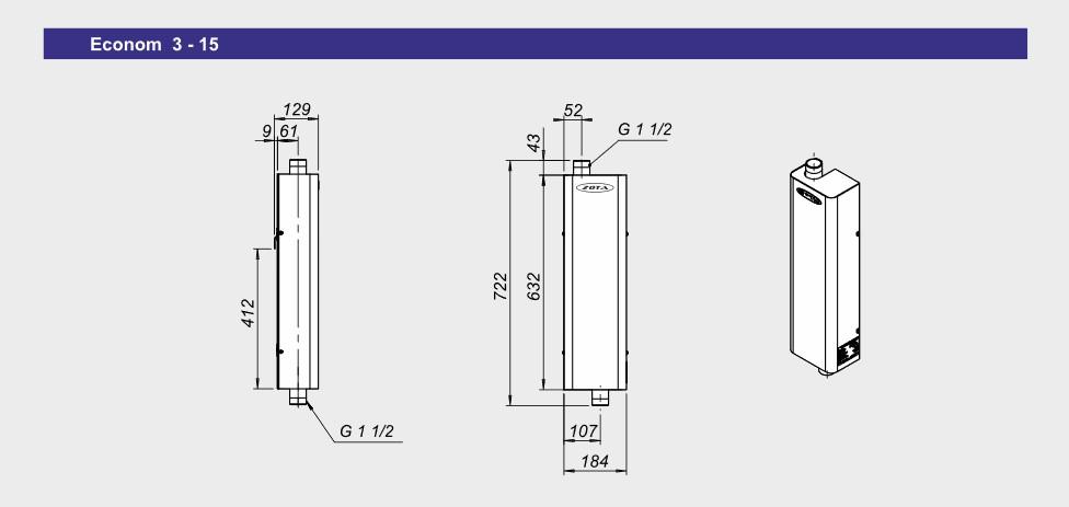 Монтажные размеры электрокотлов Zota Econom 3-15 кВт